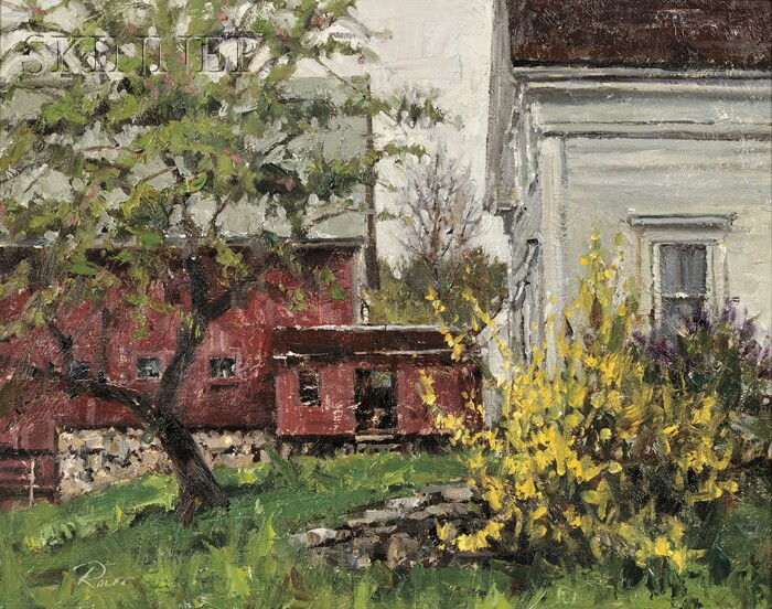 Peter Rolfe (American, 20th/21st Century)      Red Barn and Forsythia