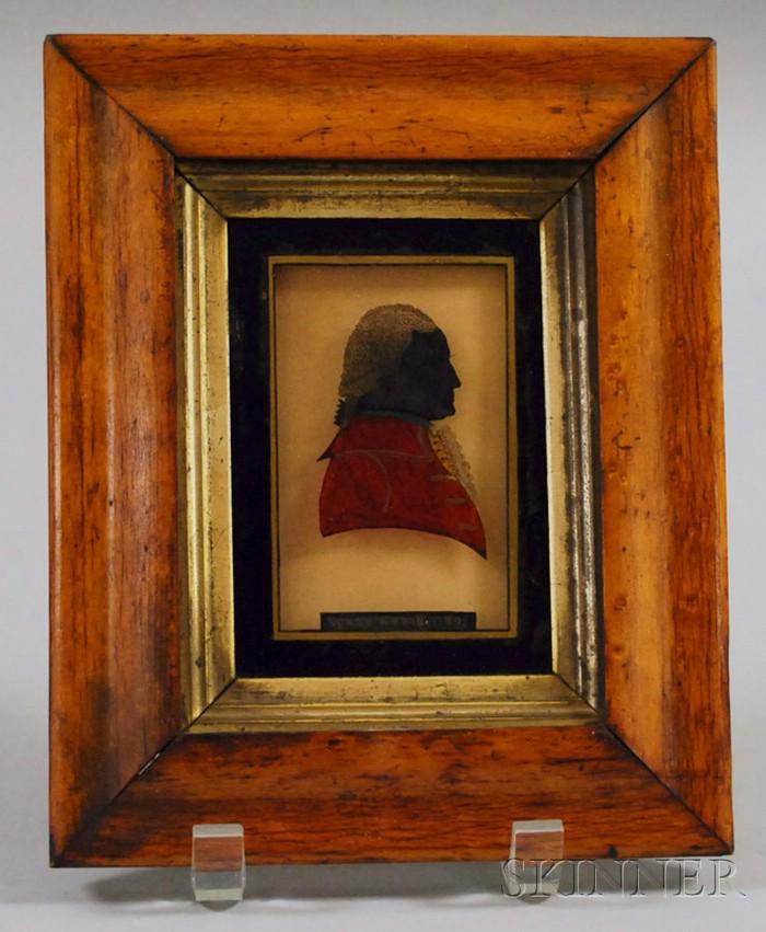 "Framed Miniature Reverse-painted Profile Portrait of George Washington on Glass   ""Washington 1797,"""