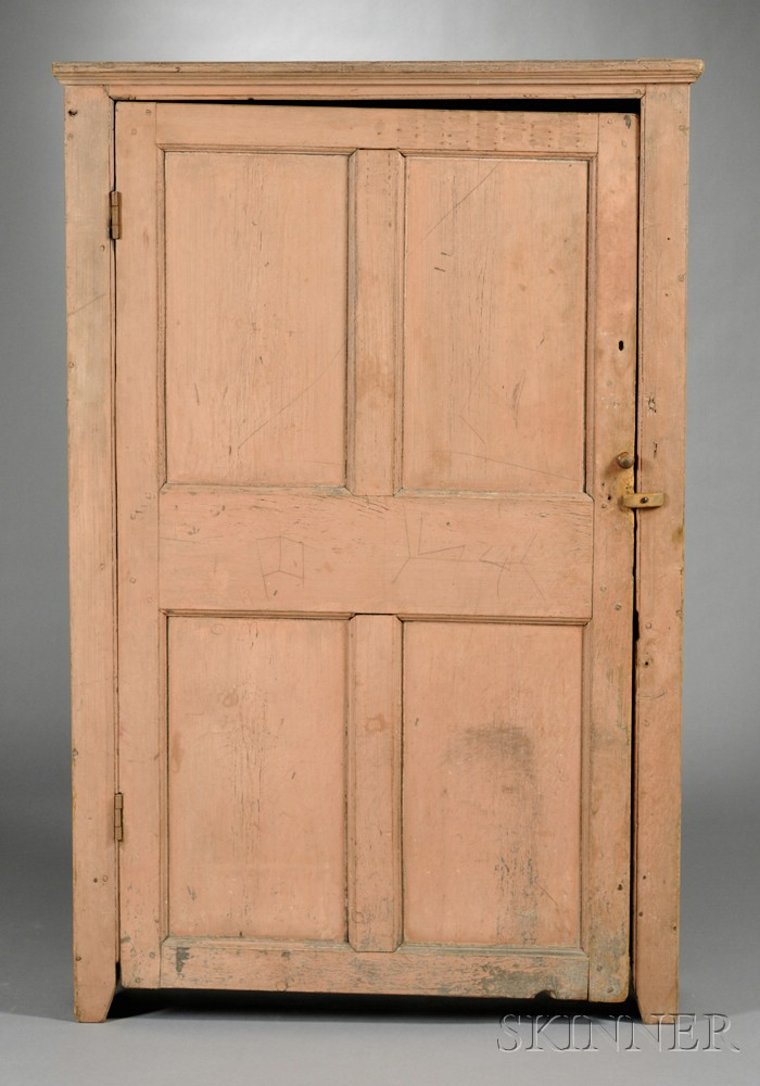 Salmon-painted Pine Cupboard with Paneled Door