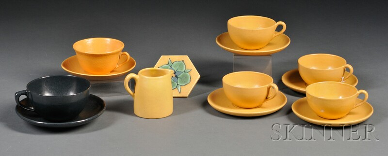 Six S.E.G. Cups and Saucers, Small Pitcher, and a Tile