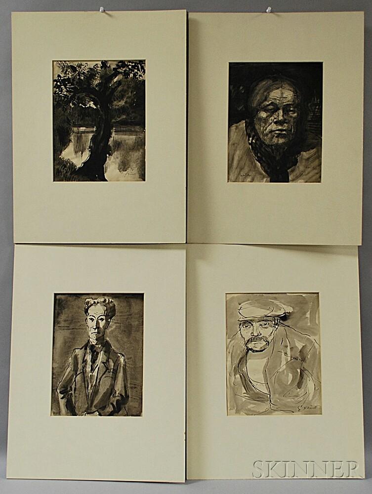 Johann Robert Schürch (Swiss, 1895-1941)      Four Ink Drawings: Man in an Ascot, Man in a Cap, Van der Hallen