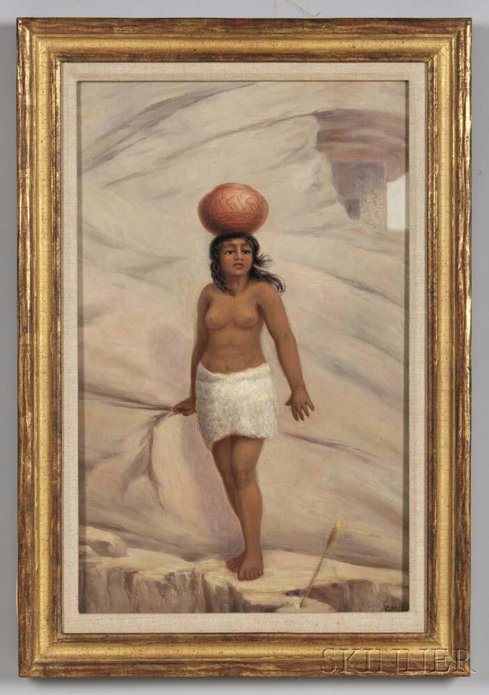 Ottinger, George Martin (1833-1917) Original Oil Sketch for the Cliff Dweller's Daughter, c. 1900.