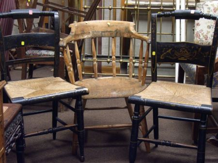 Windsor Ash Captains Chair and Two Painted Hitchcock-type Side Chairs.