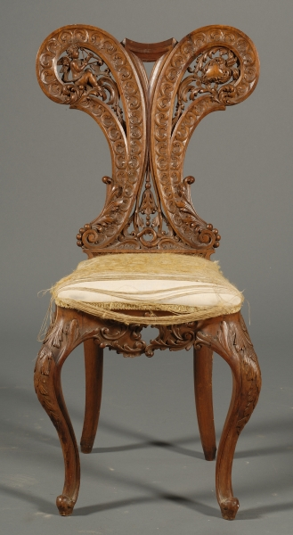 Continental Rococo Style Carved Beechwood Side Chair