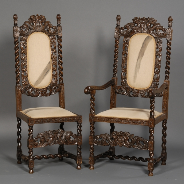 Set of Eight Jacobean Style Carved Oak Dining Chairs