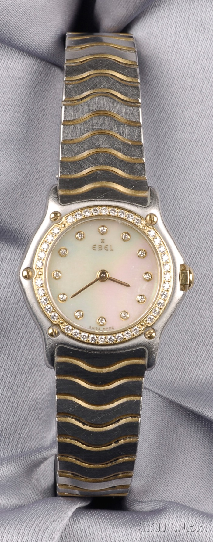 Stainless Steel and Diamond Wristwatch, Ebel