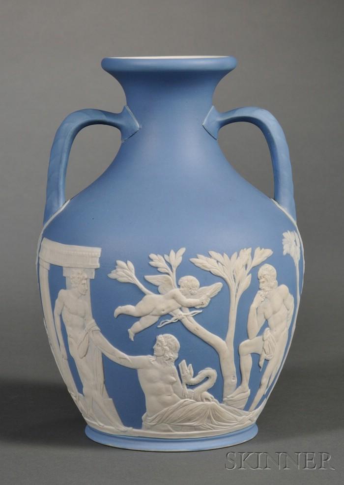 Wedgwood Light Blue Jasper Dip Portland Vase