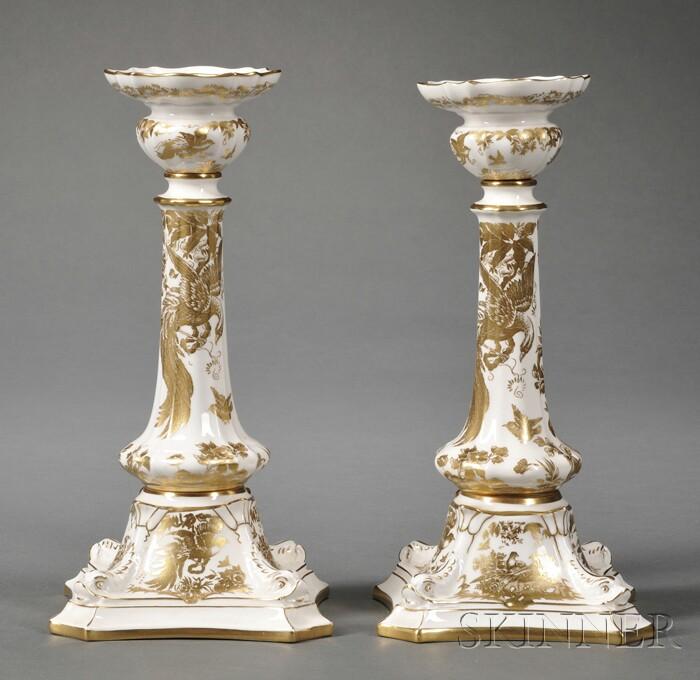 "Pair of Crown Derby Bone China ""Royal Aves"" Pattern Candlesticks"