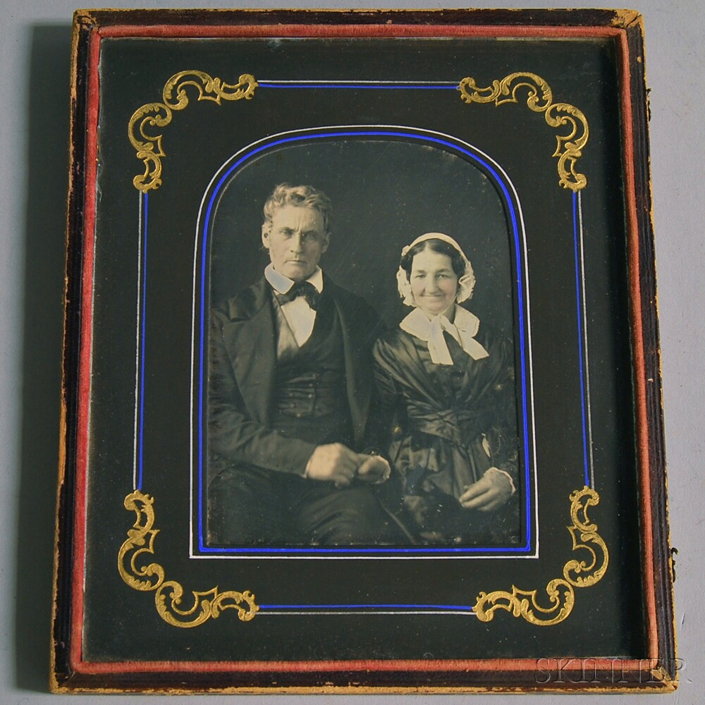 Half-plate Daguerreotype Portrait of an Elderly Couple