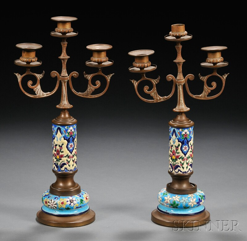 Pair of French White Metal and Enameled Three-light Candelabra