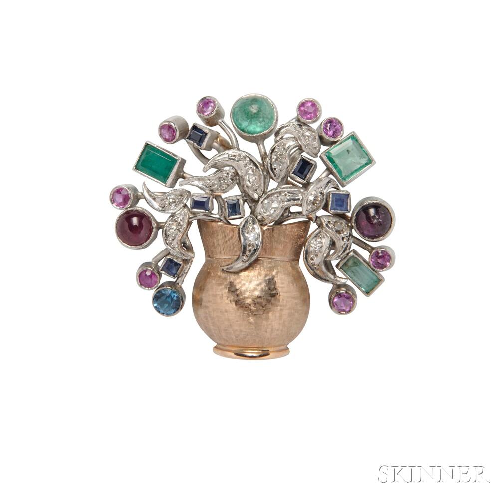 Bicolor Gold Gem-set Flowerpot Brooch