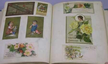 Late 19th Century Embossed Album of Chromolithograph Trade Cards.