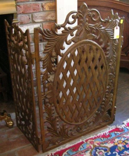 Neoclassical-style Cast Iron Three-part Folding Firescreen