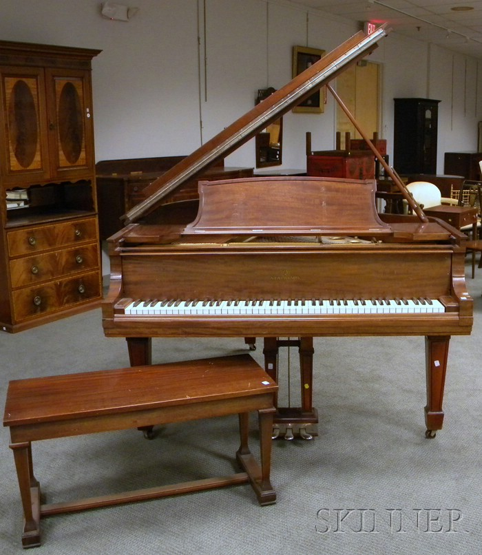 Steinway & Sons Mahogany Baby Grand Piano with Bench