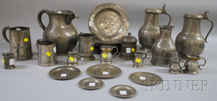 Nineteen Pewter Plates and Dishes, and Fifteen Assorted Pewter Articles