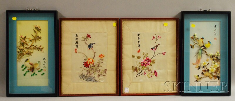 Two Modern Chinese Framed Silk Embroidered Panels and a Pair of Framed Chinese Painted Shell Carved Figural Panels.