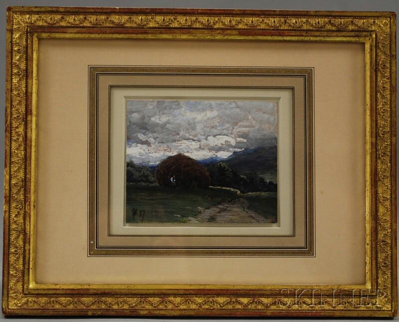 British School, 19th Century      Landscape with Haystack.