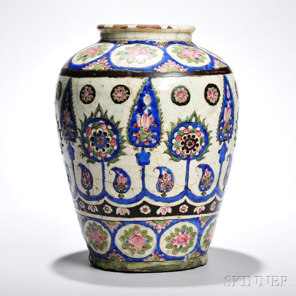 Large Polychrome Pottery Jar