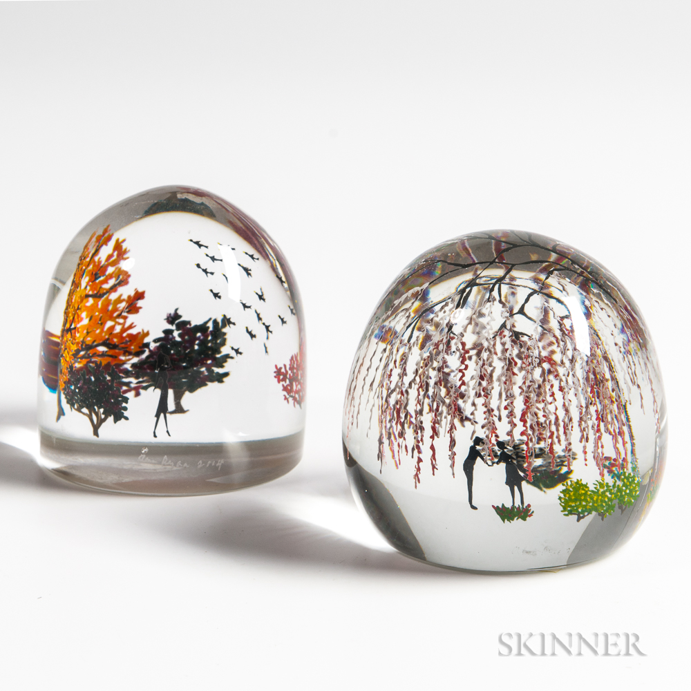 Two Alison Ruzsa Scenic Paperweights