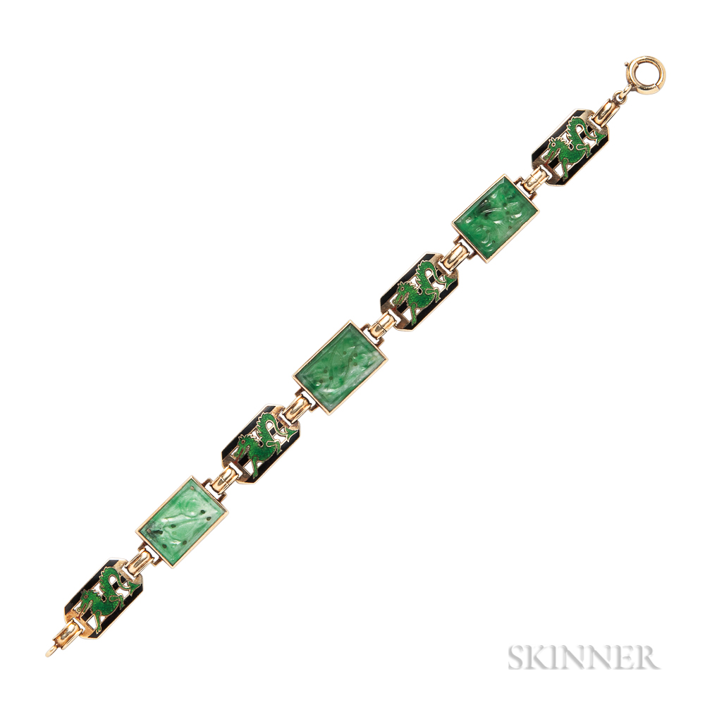 Art Deco 14kt Gold, Jade, and Enamel Dragon Bracelet, Enos Richardson & Co.