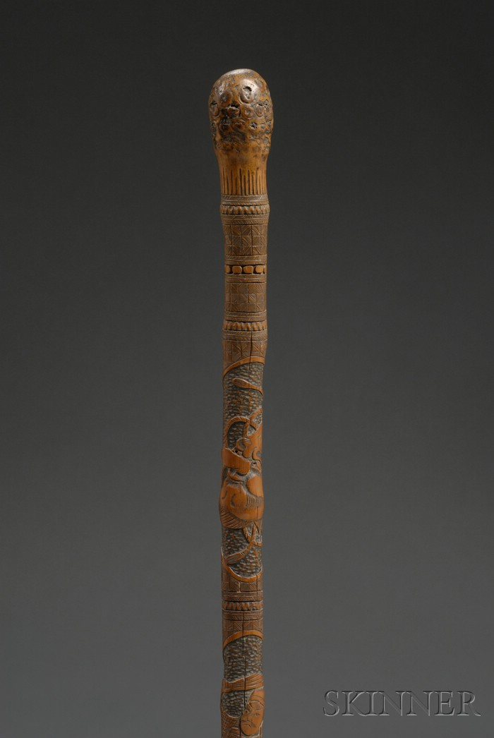 Late th century japanese carved figural decorated bamboo