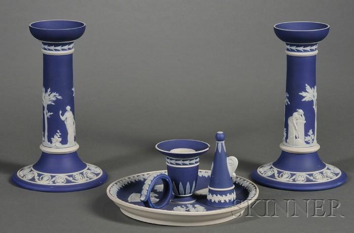 Three Wedgwood Dark Blue Jasper Dip Items