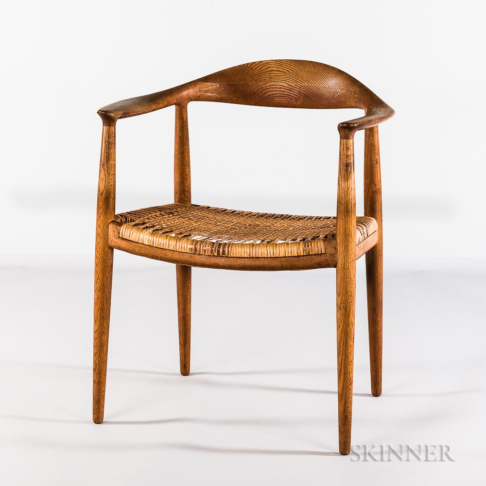 """Hans J. Wegner for Johannes Hansen Model 501 """"The Chair"""" with Woven Grass Seat"""