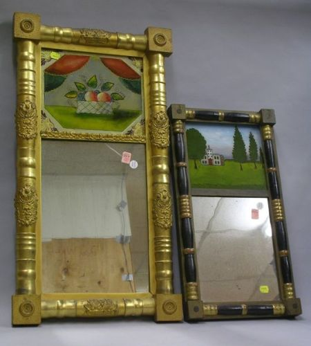 Giltwood Split Baluster Mirror with Reverse-Painted Basket of Fruit Tablet and an Ebonized and Partial Gilt Split Baluster Mirror with