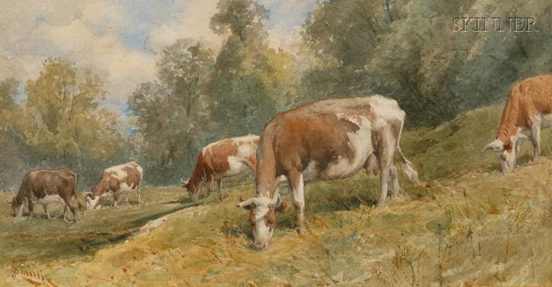 James David Smillie (American, 1833-1909)      Grazing Cattle