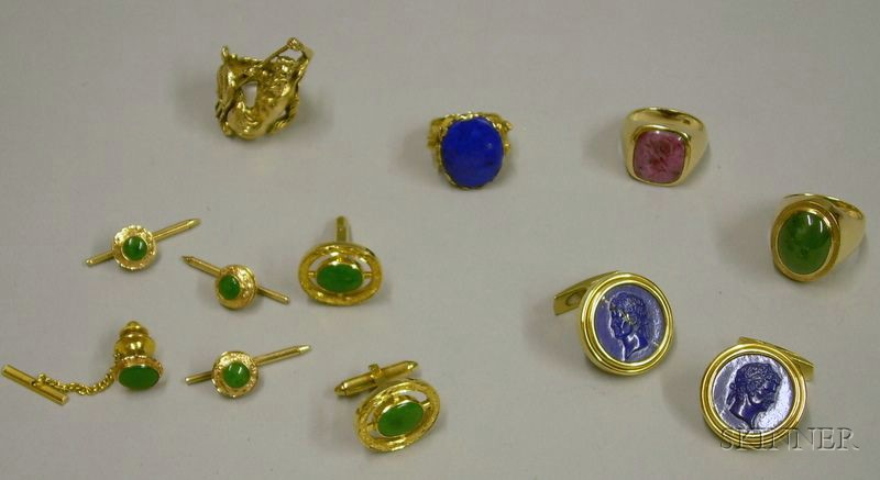 Assorted 14kt and 18kt Gold and Hardstone Mens Rings, Cuff Links, and Studs.