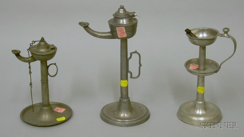 Three European Standing Pewter Wick Support Lamps