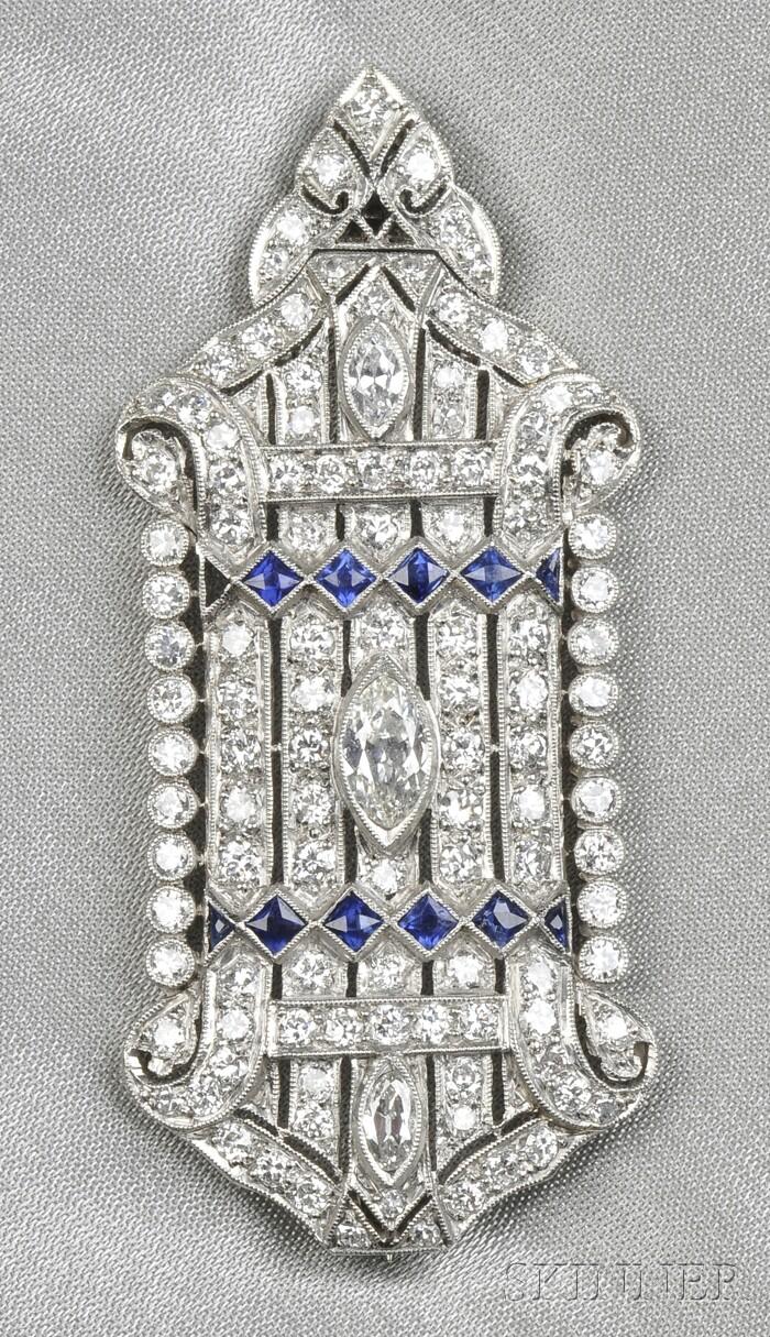 Art Deco Platinum, Sapphire, and Diamond Pendant/Brooch