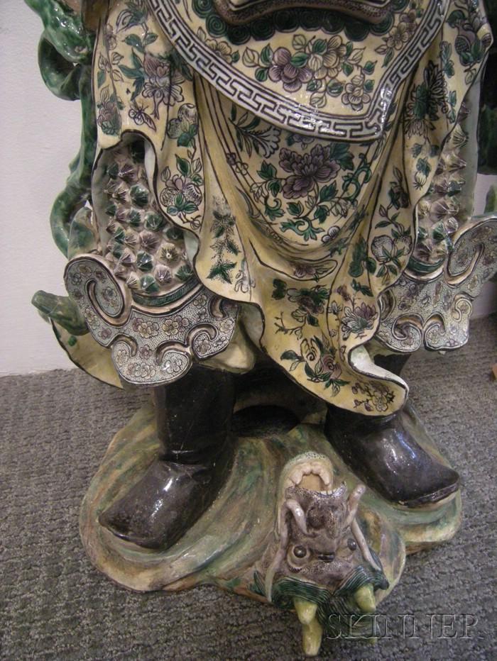 Large Sancai Glazed Guardian Figure