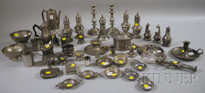Forty-two Assorted Pewter Table Items