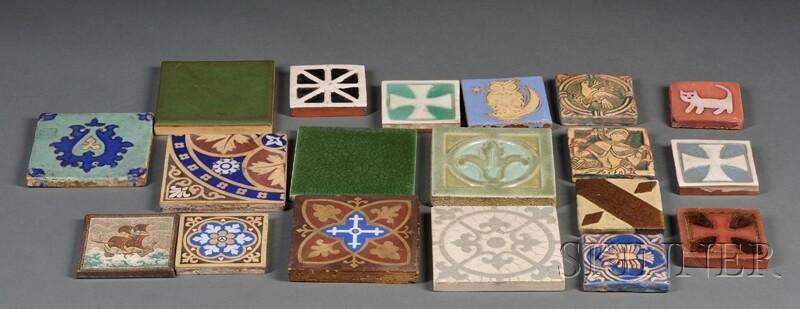 Nineteen Pottery Tiles
