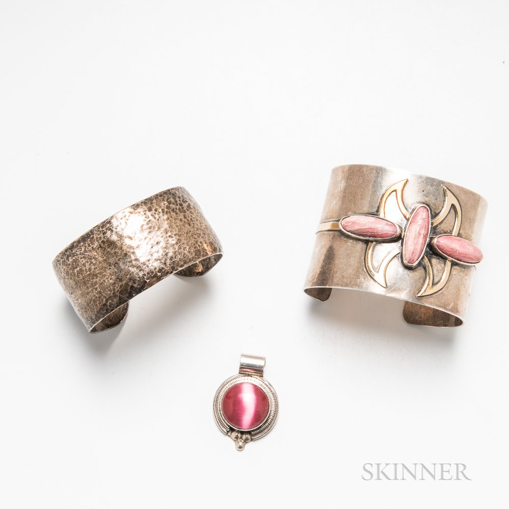 Two Silver Cuffs and a Sterling Silver and Rhodochrosite Pendant