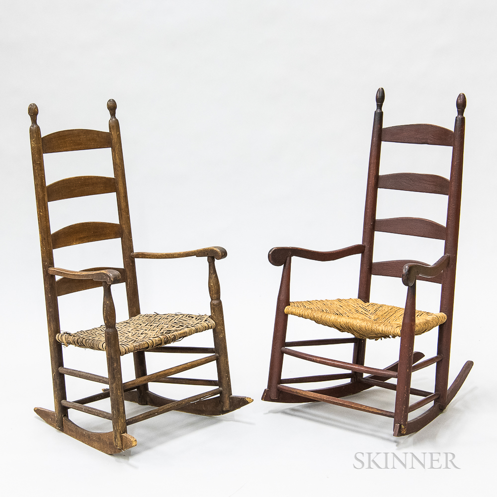 Two Country Turned Maple Ladder-back Armed Rocking Chairs