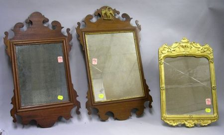 Two Small Chippendale-style Mahogany Mirrors and a Rococo Giltwood Mirror.