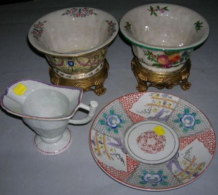 Five Assorted Chinese Export Porcelain Table Items