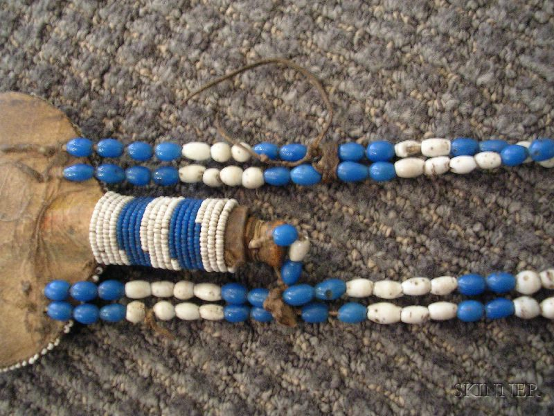 Rare Ute Beaded Tobacco Flask and Necklace