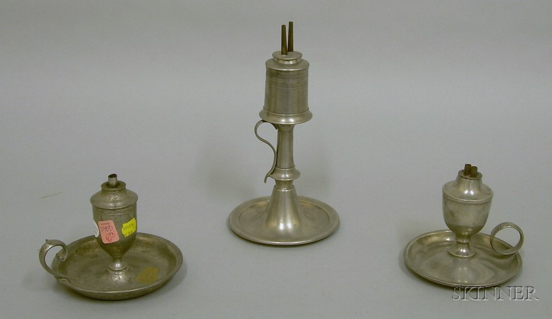 Three Pewter Chamber Lamps