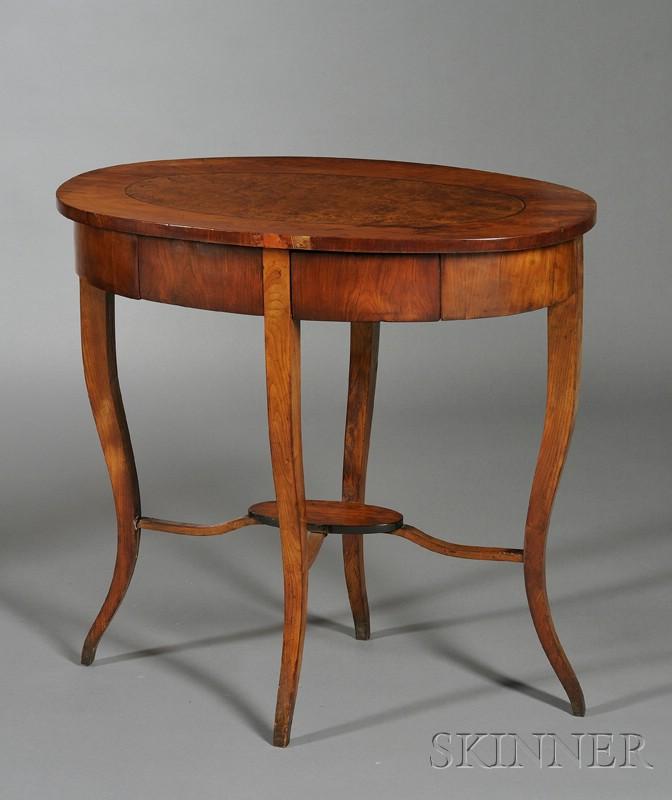 Biedermeier Amboyna-inlaid Fruitwood Occasional Table