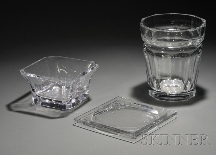 Baccarat Glass Ice Bucket and Ashtray, and Orrefors Center Bowl
