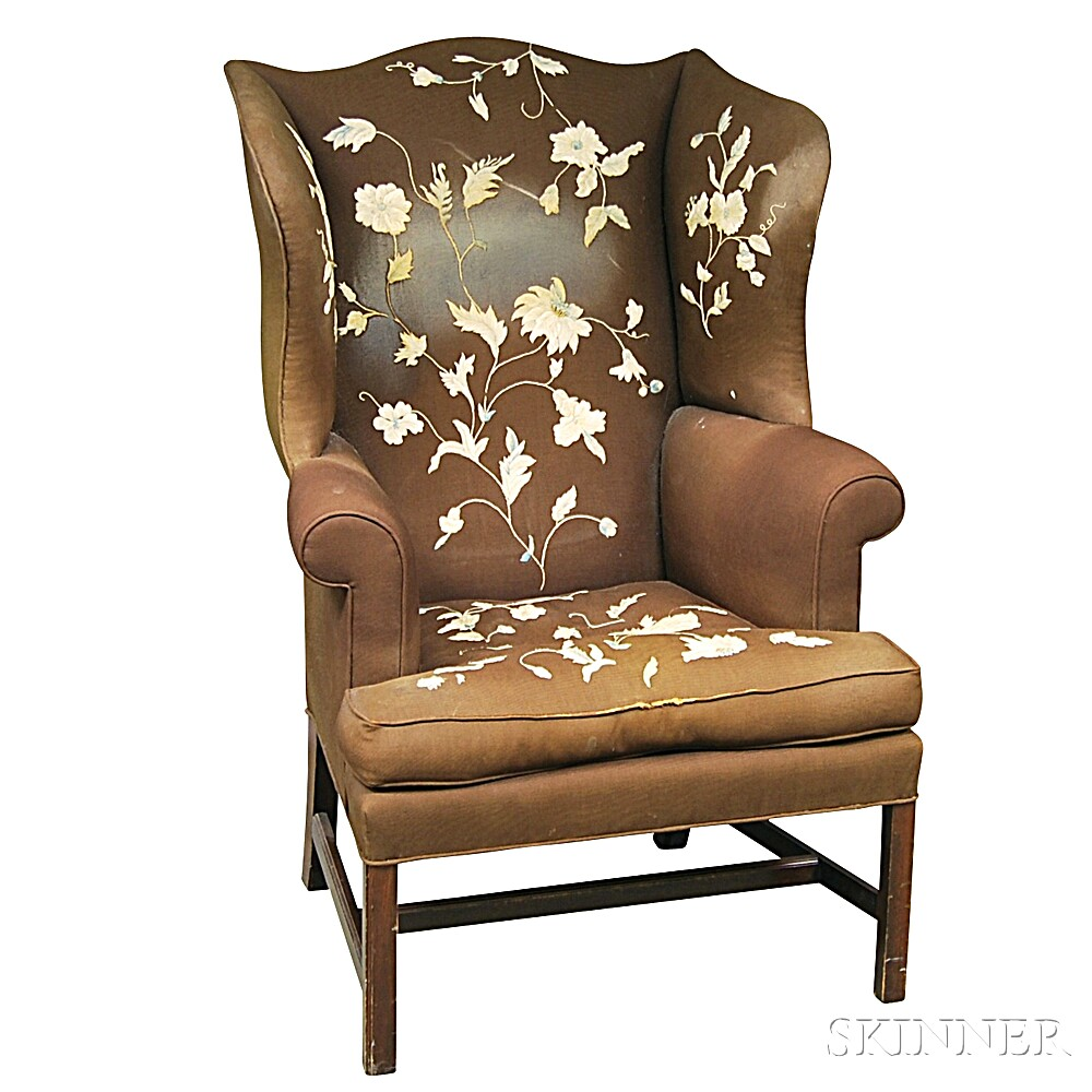 Chippendale-style Needlework-upholstered Mahogany Wing Chair