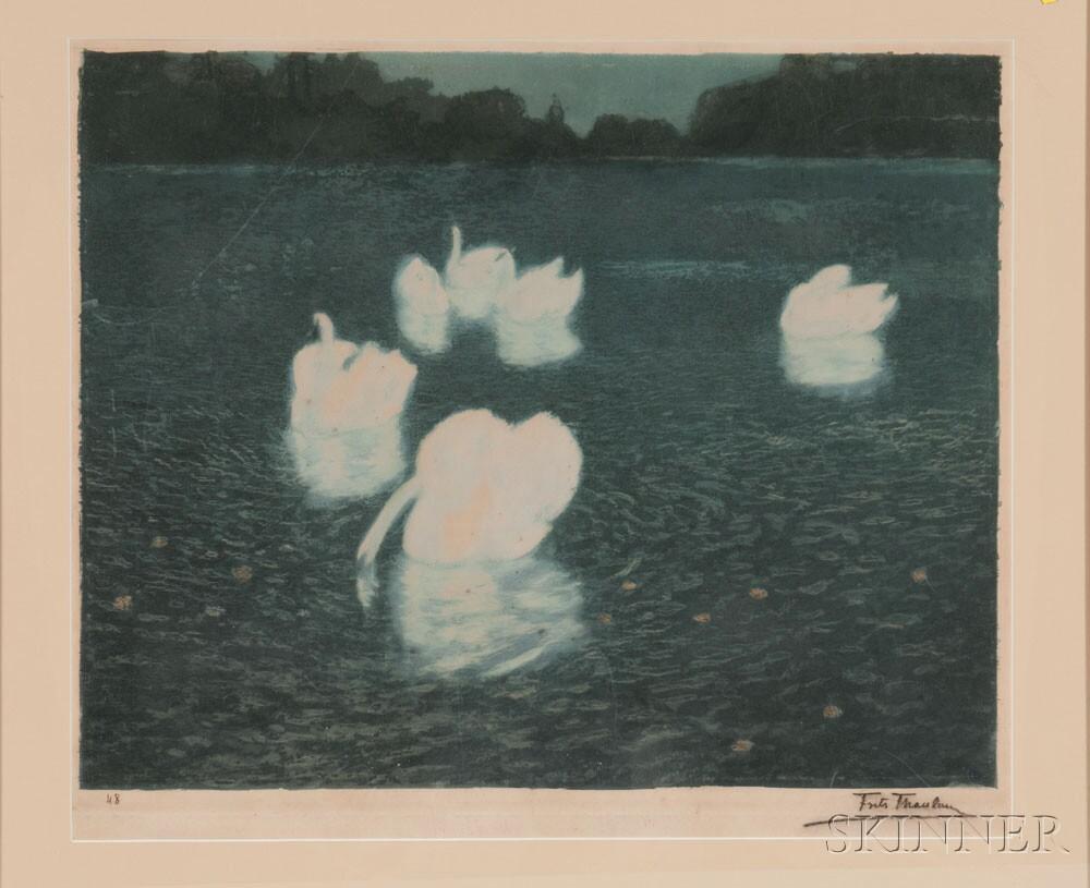 Frits Thaulow (Norwegian, 1847-1906)    Swans