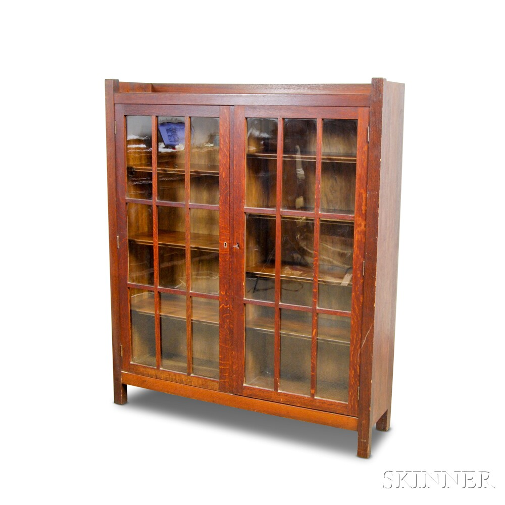 Mission-style Glazed Oak Two-door Bookcase