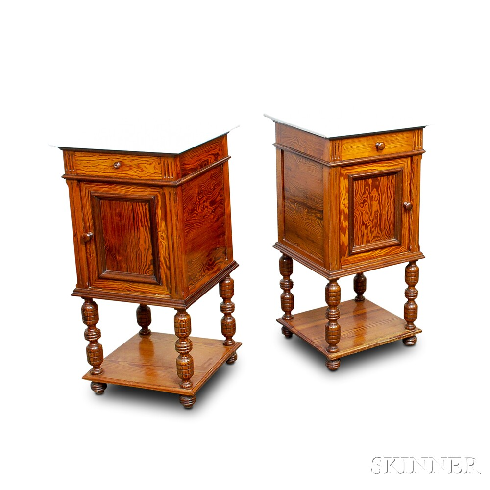 Pair of Jacobean-style Figured Marble-top Side Tables