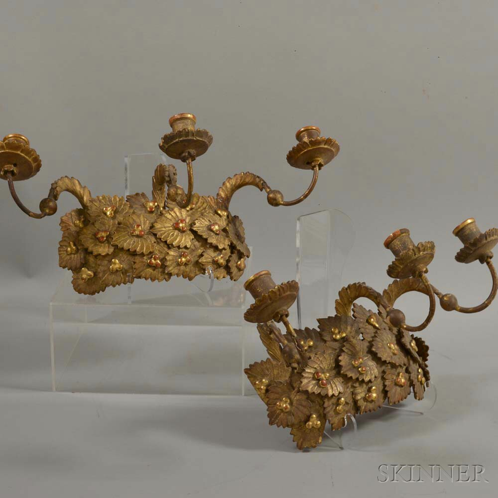 Pair of Carved and Gilt-gesso Three-light Wall Sconces