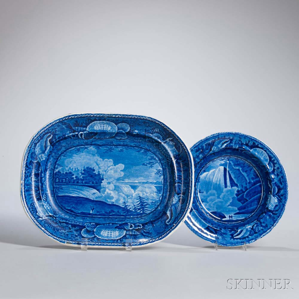 Two Staffordshire Historical Blue Transfer-decorated Niagara Falls Table Items