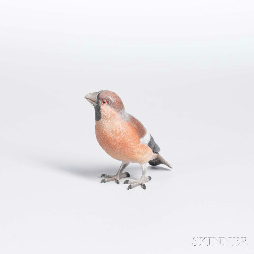 Cold-painted Bronze Finch Figure
